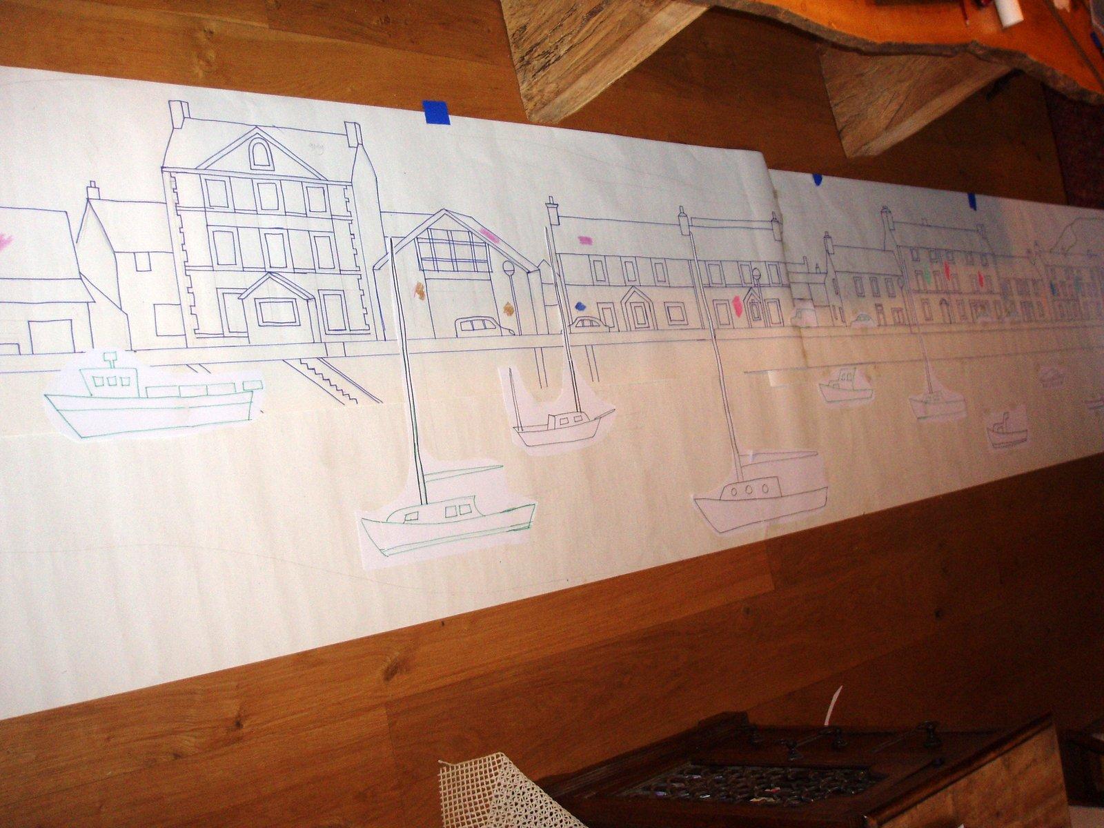 Plan of harbour mosaic for riverside shelter