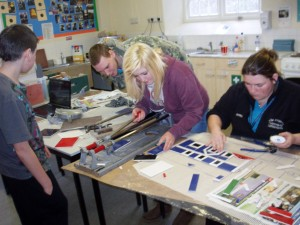 Working on the riverside mosaic